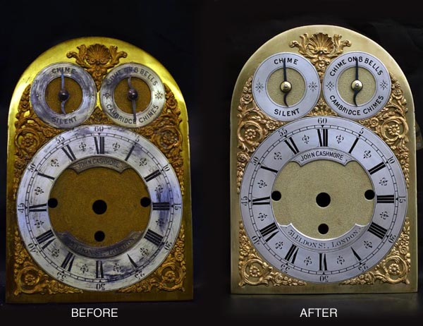 Brass dial before after